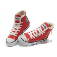 Red CONVERSE Winter Chuck Taylor All Star Soft Nap Shearling Inside Zipper Canvas Sneakers Free Shipping