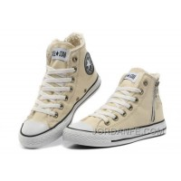 CONVERSE Winter Chuck Taylor All Star Beige Soft Nap Shearling Inside Zipper Canvas Sneakers New Release