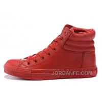 All Star Red High CONVERSE Embroidery Leather Padded Collar Winter Online