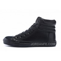 All Black All Star CONVERSE Embroidery Leather Padded Collar Winter New Release