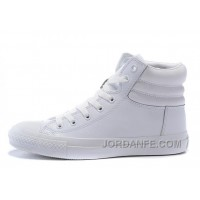 Full White CONVERSE Embroidery Leather Padded Collar Winter CTAS Shoes For Sale