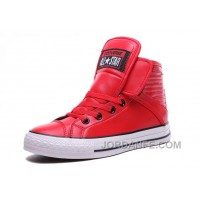 Red All Star CONVERSE Velcro Leather High Big Tongue Winter Super Deals