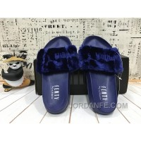 PUMA BY RIHANNA LEADCAT FENTY FUR SLIDE Blue Free Shipping