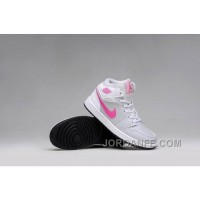 Girls Air Jordan 1 Grey Pink White Shoes For Sale Authentic