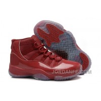 Girls Air Jordan 11 Red-Brown Leather Shoes For Sale Discount