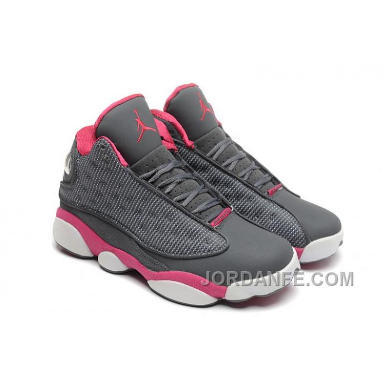 buy online f4d1d 1c82e Girls Air Jordan 13 Retro Cool Grey/Fusion Pink-White For Sale New Release