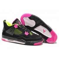 Girls Air Jordan 4 Retro Black Suede Light Green Pink For Sale Authentic