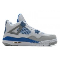 Air Jordans 4 Retro White/Military Blue-Neutral Grey For Sale Super Deals