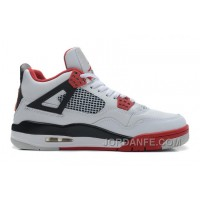 Air Jordans 4 Retro White/Fire Red-Black For Sale Super Deals 55599