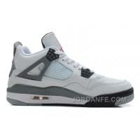 Air Jordans 4 Retro White/Black-Cement Grey Shoes For Sale