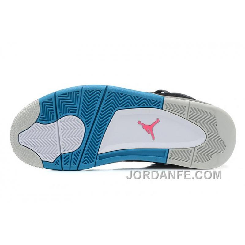 "reputable site b4669 db833 ... Air Jordans 4 Retro ""South Beach"" Black Dynamic Blue-White-Vivid ..."
