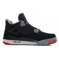 "Air Jordans 4 Retro ""Bred"" Black/Cement Grey-Fire Red For Sale Super Deals"