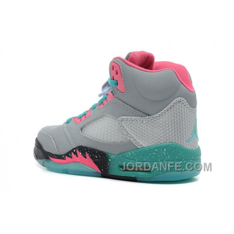 """7b38ac6899bb31 ... Girls Air Jordan 5 """"Miami Vice"""" Grey Teal-Pink For Sale Authentic ..."""