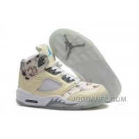 Girls Air Jordan 5 Beige Cherry Blossom For Sale Free Shipping