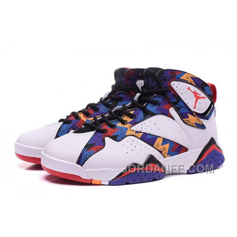 Authentic Air Jordan 7 Nothing But Net White University Red-Black-Bright Concord