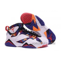 """2016 Girls Air Jordan 7 """"Nothing But Net"""" White/University Red-Black-Bright Concord For Sale"""