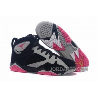 "7cba193aecc56b Girls Air Jordan 7 ""Fuchsia Flash"" Black Sport Fuchsia Pink-Grey Free"