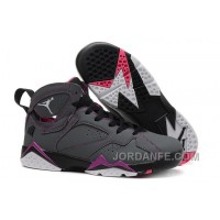 "a9d575212c0670 Girls Air Jordan 7 ""Valentines Day"" Dark Grey White-Black-Fuchsia"