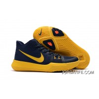 "Girls Nike Kyrie 3 ""Cavs"" Deep Blue Yellow Free Shipping"