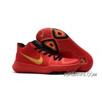 Girls Nike Kyrie 3 Red Black Gold Authentic