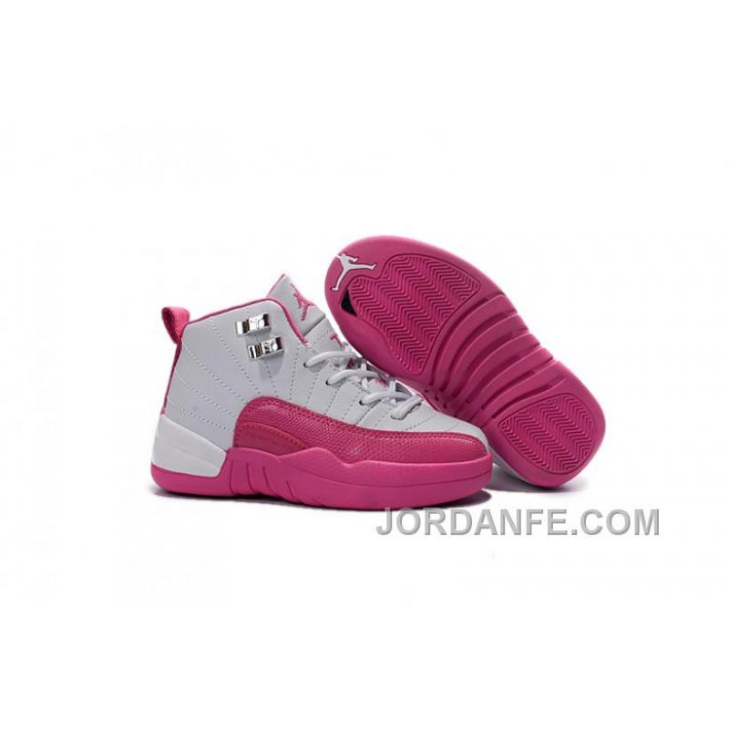 f0d53a3fb667 ... Kids Jordan 12 Shoes Valentine s Day Dynamic Pink For Sale Free  Shipping ...