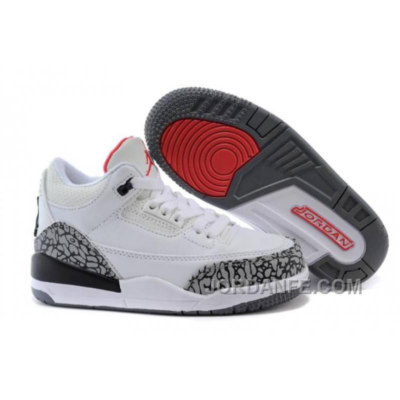 4bd3ea24fc7d USD  64.34  99.18. Kids Jordan 3 White Cement-White Fire Red-Cement Grey-Black  New ...