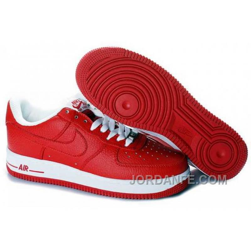 new product 64a58 dfe47 Nike Air Force 1 Low Mens Red White Top