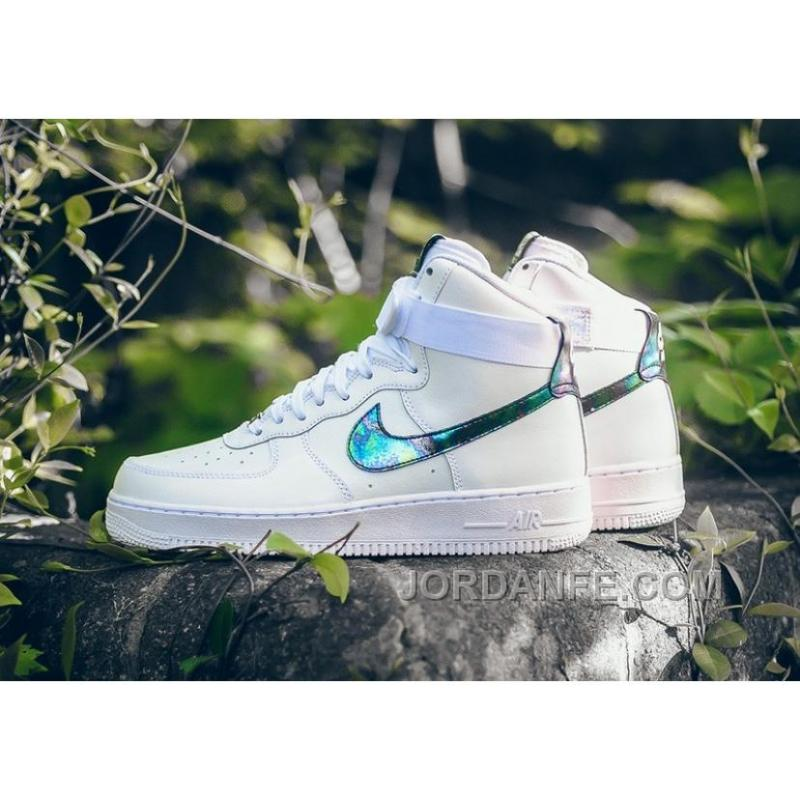 NIKE AIR FORCE 1 HI LV8 IRIDESCENT 806403-100 White Green Gold ... ad6e2ca4d