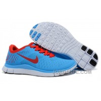 Nike Free 4.0 V2 Running Shoes Sky Blue Red Online