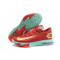 "Nike Kevin Durant KD 6 VI ""Christmas"" Light Crimson/Metallic Gold-Green Glow For Sale Free Shipping"