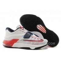 """Nike Kevin Durant KD 7 VII """"USA"""" White/Obsidian-University Red For Sale Free Shipping"""