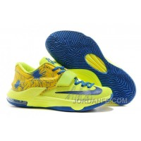 Nike KD 7 Custom Yellow Fluorescent Green Blue Free Shipping