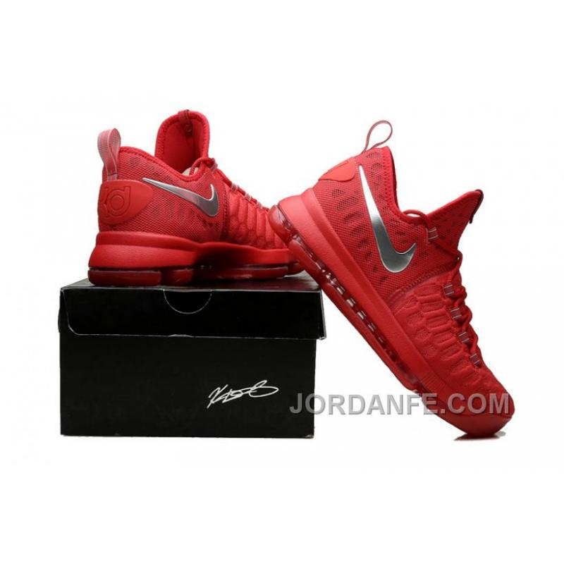 save off 7b0af ac71c Nike Kevin Durant KD 9 Sport Red Silver Basketball Shoes 2016 For Sale Xmas  Deals