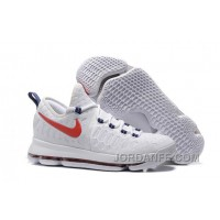 "Nike Kevin Durant KD 9 ""USA"" White/University Red-Race Blue 2016 For Sale Hot"