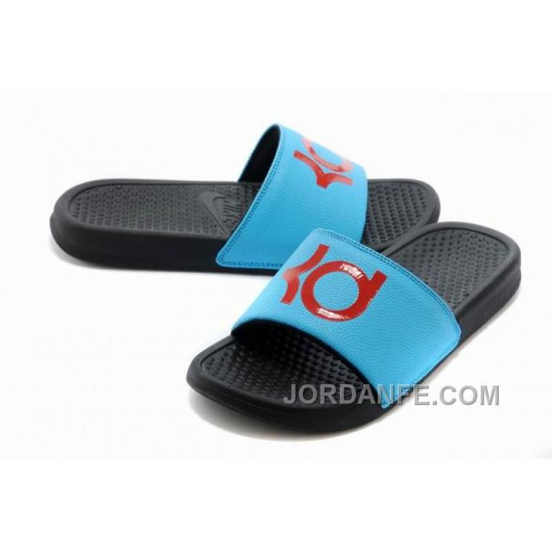 7967f2f784ae USD  75.99  99.18. Nike KD Black Blue Red Slippers For Sale Top ...