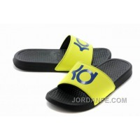 Nike KD Black Yellow Blue Slippers For Sale Hot