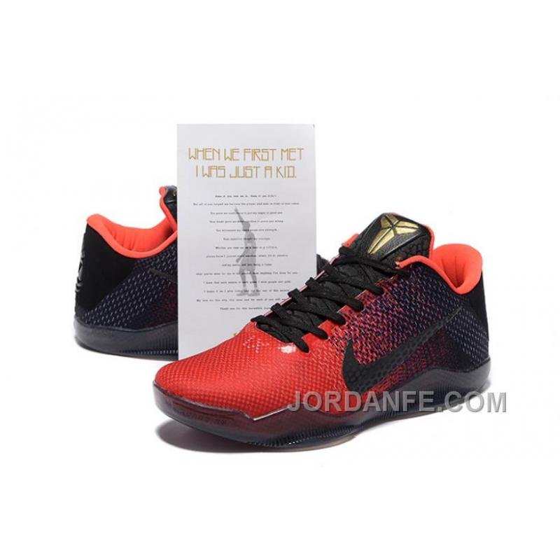 new style 439cc b25b6 ... Nike Kobe 11 Achilles Heel Red Black Basketball Shoes New Release ...