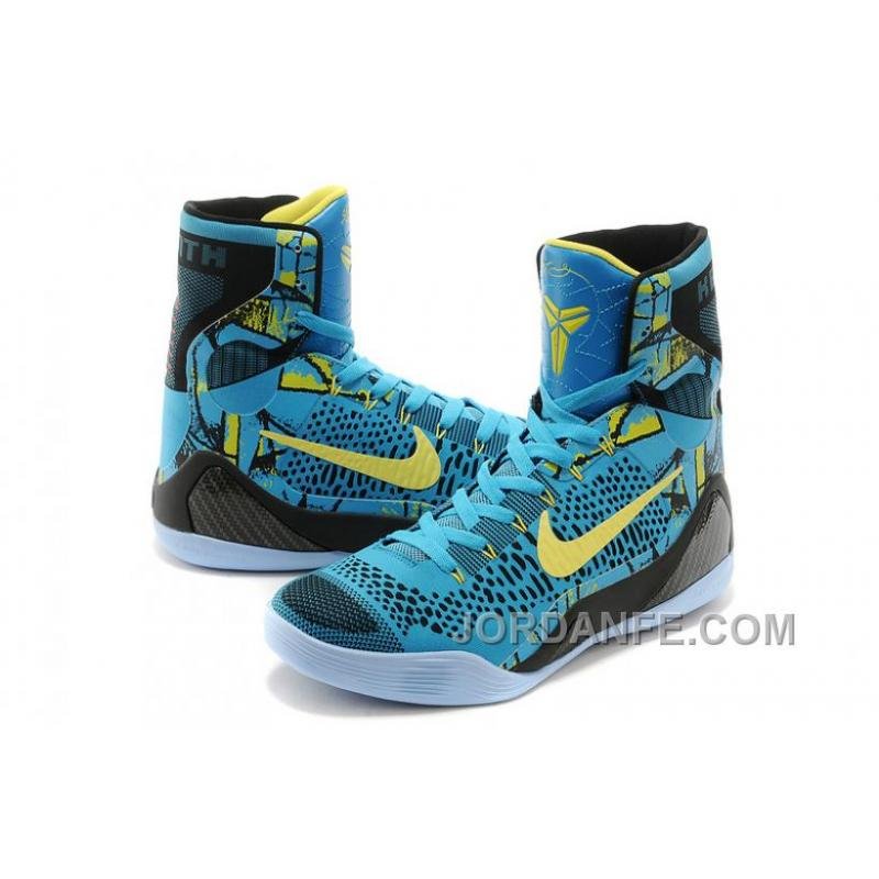 5cf87225d90a ... Nike Kobe 9 Elite High Top Perspective Neon Turquoise Volt Blue Black  Authentic ...