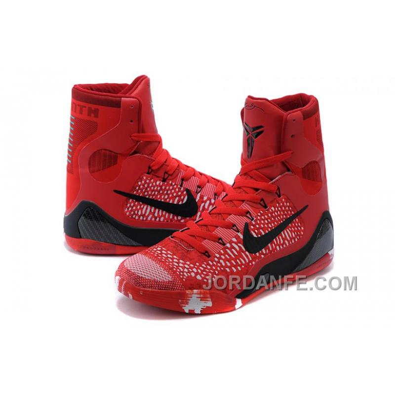 Nike Kobe 9 Elite Christmas High Top Bright Crimson Black White For ...
