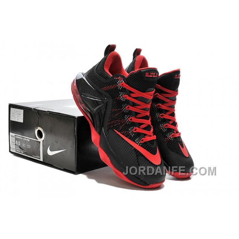 09ee9f53319ed ... Nike Lebron 12 Low Black And Red New Release ...