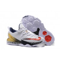"2016 Nike LeBron 13 Low ""USA"" Olympic White/University Red-Obsidian-Metallic Gold Xmas Deals"