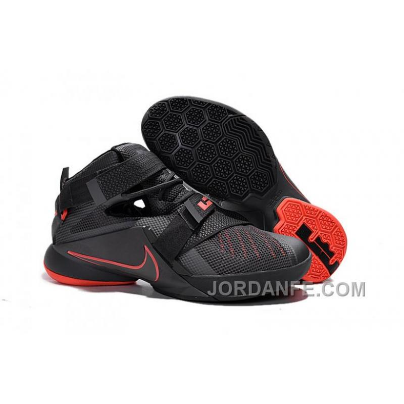 739429ee5746 Nike LeBron Soldier 9 Black And Red Highlights Basketball Shoe Hot ...