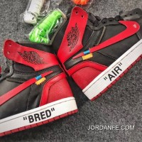 OFF-WHITE X Air Jordan 1 Mens Shoes Bred Free Shipping
