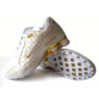 Men's Nike Shox Monster Shoes White/Gold Top Deals