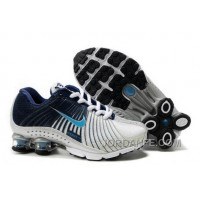 Kid's Nike Shox R4 Shoes White/Midnight Navy/Light Blue For Sale