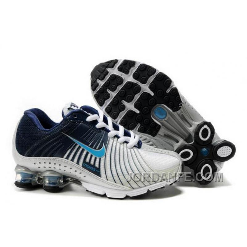 Kid s Nike Shox R4 Shoes White Midnight Navy Light Blue For Sale ... 2061d4c26