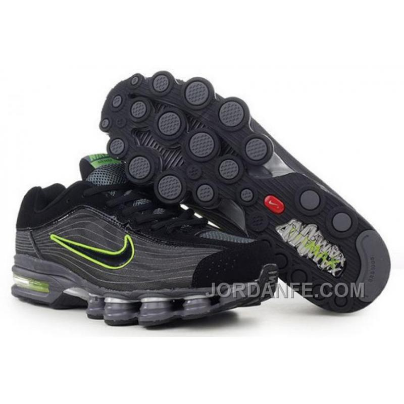 42d91846e1b6 Men s Nike Air Max Shox R4 Shoes Black Dark Grey Green Cheap To Buy ...
