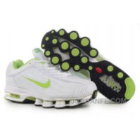 Men's Nike Air Max Shox R4 Shoes White/Light Green New Release