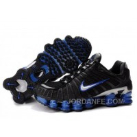 Men's Nike Shox TL Shoes Black/Blue/Silver Discount