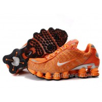 Men's Nike Shox TL Shoes Orange/Silver Super Deals